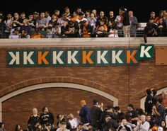 A fan places a K on the right field wall after San Francisco Giants starting pitcher Tim Lincecum's 10th strikeout of the game against the Atlanta Braves during the sixth inning of a baseball game against the Atlanta Braves on Monday, May 12, 2014, in San Francisco. (AP Photo/Marcio Jose Sanchez)