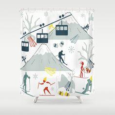 SKI LIFTS Shower Curtain Ski Lift Skiing Curtains Net
