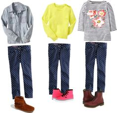 """""""tween fashion- how to wear polka dot jeans"""" by thebluecloset on Polyvore"""
