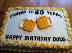 Trendy Birthday Cake Fondant Men Dads Beer Mugs Ideas Trendy Birthday Cake Fondant Men Dads Beer Mugs Ideas Elegant Birthday Cakes, 60th Birthday Cake For Men, Funny Birthday Cakes, Birthday Sheet Cakes, Birthday Cake Pops, Birthday Cake Decorating, Birthday Beer, 20th Birthday, Birthday Ideas