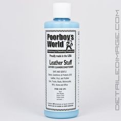 Poorboy's World Leather Stuff. Very mild cleaning ability but good leather and vinyl conditioner. The natural leather scent leaves your car smelling like new. Use more product and a longer dwell time for older, drier leather. Then buff with dry microfiber cloth to leave nicely cleaned and conditioned leather and/or vinyl.