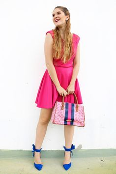 490f766f36a1 Combine a bright pink dress with an equally bright pair of shoes to make a  colorful Summer outfit!