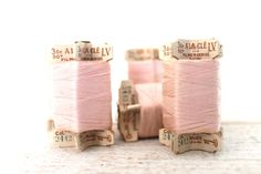 5 small French vintage spools pale pink cotton thread - Paris haberdashery