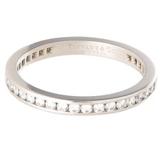 Tiffany & Co. Diamond Platinum Eternity Band Ring | From a unique collection of vintage band rings at https://www.1stdibs.com/jewelry/rings/band-rings/