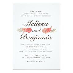 Sweet Floral Wedding Invitation – Red Invitation Card