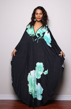 Floral Maxi Dress Black Kimono Butterfly Kaftan Maxi by Nuichan Kimono Dress, Floral Maxi Dress, Dress Skirt, Abaya Fashion, Boho Fashion, Fashion Looks, Black Kimono, Dress Black, Maxis