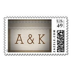 Country Rustic Burlap Lace Wedding Stamp