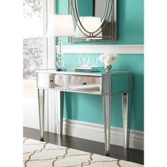 Mirrored Console Desk Table Silver 2-Drawers With Mirrors Sideboard Furniture: $278.41End Date: Feb-28 07:05Buy It Now for… #eBay #Amazon