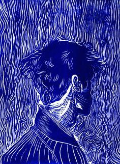 """BLUE BOY Linocut Print, 8""""x12"""""""