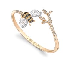 Black Diamond & Yellow Sapphire Bee Bangle - Part of the Beees Collection
