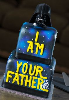 """""""I am Your Father's Day"""" Star Wars Cake - the Darth Vader DecoSet cake topper makes a breathing noise, very cool."""