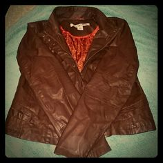 Chocolate brown faux leather bomber jacket Great condition, only worn a few times. Size runs pretty small! Celebrity Pink Jackets & Coats