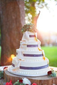 Hand-painted cakes are growing in popularity for their rustic and whimsical charm! Smitten with these blue painted stripes, a sweet way to accent with your favorite color or add that something blue to your day! #cedarwoodweddings Holly Williams and Chris Coleman's country chic farm wedding at Cedarwood | Cedarwood Weddings