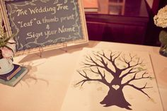 Wedding Guest Book Idea #107:  Leave your Thumbprint.  Seen this fun idea for your guests to leave their thumbprint and sign on it on several graphics - trees, balloons, and others.  Fun!  A little messy but fun.