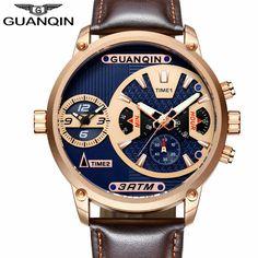 b8323f03d36 GUANQIN relógio relogio masculino de Luxo Mens Esporte Múltipla Fuso  Horário Homens Multifunções Relógio de Quartzo