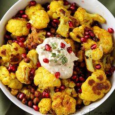 Curry Roasted Cauliflower and Chickpeas with Garlic Tahini Sauce
