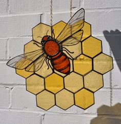 Honey Bee Stained Glass Pattern | Items similar to Hand Painted Stained Glass Honey Bee on Honeycomb ...