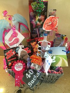 40th Birthday Gift Basket Ideas The Receiver Thought These Were Pretty Funny