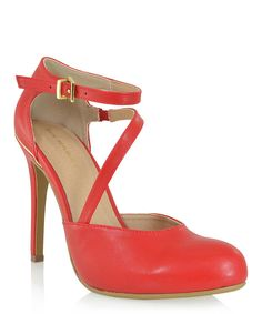 Look at this Shoe Republic LA Red Marin Ankle-Strap Pump on #zulily today!
