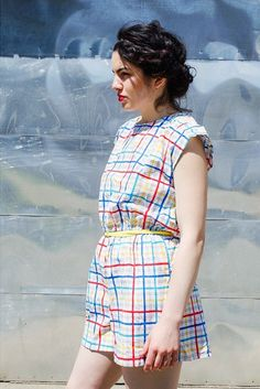 Two Birds Clothing on Antsquare: Vintage rainbow plaid romper #seattle #vintage #fashion #primarycolors #romper #redlips #capitolhill #twobirdsclothing