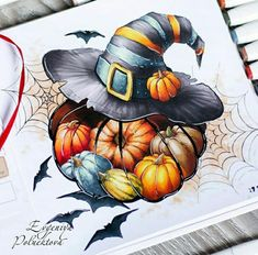 Fall Drawings, Halloween Drawings, Cool Art Drawings, Halloween Pictures, Halloween Art, Copic Marker Art, Copic Art, Desenho Tattoo, Color Pencil Art