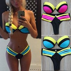 2015 Sexy Women Push UP Swimwear Bikini Brazilian Patchwork Swimsuit Strappy Swimwear Bathing suits Biquini#28