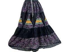 Womens Black Gray Skirt Bohemian Maxi Gypsy Long Cotton Tiered Skirts Mogul Interior,http://www.amazon.com/dp/B00BIZWPF4/ref=cm_sw_r_pi_dp_SPPbsb0FEK0TJWV7