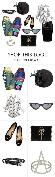 """glamour goth"" by cibelecristina ❤ liked on Polyvore featuring LunatiCK Cosmetic Labs, Paco Rabanne and Le Specs"