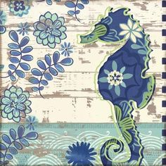 Add whimsical appeal to your coastal decor with this Oceania Seahorse canvas wall art. Nautical Art, Nautical Prints, Sea Art, Decoupage Paper, Beach Scenes, Paper Background, Coastal Decor, Illustrations, Canvas Wall Art