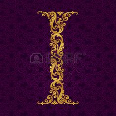 Illustration of Gold font type letter I, uppercase. Vector baroque element of golden alphabet made from curls and floral motifs. Victorian ABC element in vector. vector art, clipart and stock vectors. S Alphabet, Letter I, Calligraphy Fonts, Monogram Logo, Floral Motif, Baroque, Vector Art, Typography, Clip Art