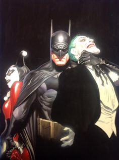 """""""Mind if I Cut In?"""" (2015) - Alex Ross. <<< OMIGOD HE DID A SEQUEL TO THE MOST ICONIC PIECE OF JOKER/HARLEY ART EVER. <<< can I just say that I love how Bruce looks like he's protecting Harley by pushing her away from the Joker and standing in front of her"""