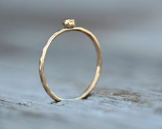 ONE Gold Hammered Nugget Stacker  Simple Boho Chic by amywaltz, $23.00