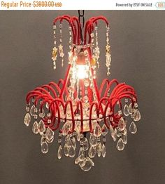 Excited to share this item from our #etsy shop: Original Vintage Red Crystal Beaded Murano Chandelier, Antique Rare Italian Architectural Chandelier, Wiring Ok USA, Free Shipping #bedroom #artdeco #etsychandelier #designerchandelier #italianchandelier #rarechandelier