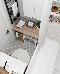 small bathroom Here are tips from us, so hopefully you watched this section 35 Simple amp; Clean Small Bathroom Ideas On A Budget (Here some tips too, Dont miss it! Dont be shy to have a small bathroom on budget. That was unique and less money Tiny House Bathroom, Laundry In Bathroom, Modern Bathroom, Master Bathroom, Laundry Rooms, Bathroom Grey, Bathroom Marble, Shower Bathroom, Vanity Bathroom