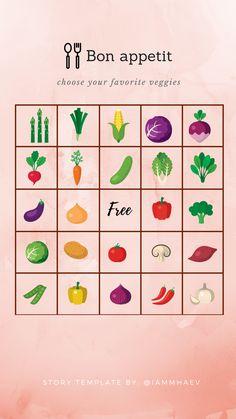 Bon apetit (favorite veggies in icons) Bingo Instagram Story Template Instagram Storie, Free Instagram, Instagram Story Template, Instagram Story Ideas, Instagram Templates, Bingo, Quiz Design, Instagram Questions, Free Stories