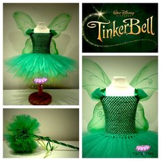 Girls Disney Tinkerbell inspired  inspired Tutu Dress with Wings and matching wand  0-8yrs