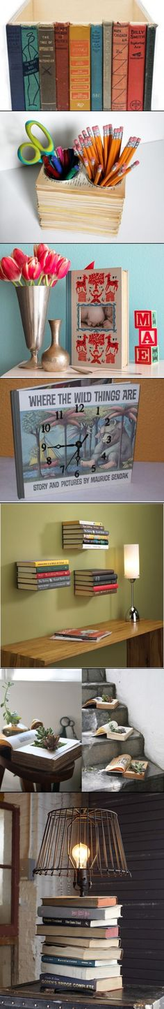 """Upcycle Old Books For Kid Friendly Crafts>>Really wanna do the first two, and th. - >Really wanna do the first two, and th…""""> Upcycle Old Books For Kid Friendly Crafts>>Really wann - Fun Crafts, Diy And Crafts, Arts And Crafts, Paper Crafts, Geek Crafts, Old Book Crafts, Book Page Crafts, Book Projects, Craft Projects"""