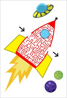 Decorative space themed maze puzzle designed by Freelance graphic designer Graham Ferguson . Ideal to use when exploring the theme of outer space in your school or early years setting. Preschool Themes, Activities For Kids, Space Coloring Pages, Outer Space Theme, Maze Puzzles, Monthly Themes, Freelance Graphic Design, Eyfs, Early Learning