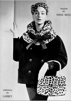 1954 Lena Madsen in jacket with leopard collar by Nina Ricci