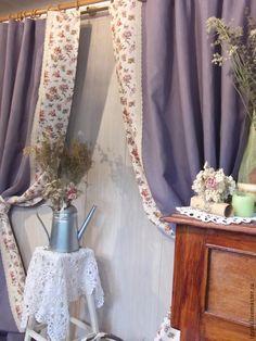 """Шторы льняные""""Лавандовый вечер"""" - сиреневый,лавандовый,прованс,шторы для спальни"""