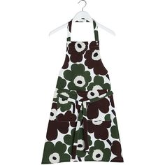 Marimekko Pieni Unikko Apron - Green/Brown (100 BRL) ❤ liked on Polyvore featuring home, kitchen & dining, aprons, green, pocket apron, marimekko apron, brown apron, marimekko and cotton apron