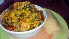Serve egusi soup with pounded yam or semolina Egusi Soup Recipes, Goat Meat, Pumpkin Leaves, Smoked Fish, Cooking Spoon, Yams, Dove Pictures, Stuffed Peppers, Vegetables