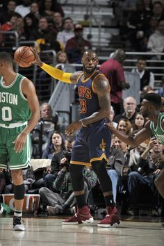 LeBron James #23 of the Cleveland Cavaliers handles the ball against the Boston Celtics on November 3, 2016 at Quicken Loans Arena in Cleveland, Ohio.
