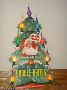Radko Shiny Brite Christmas Department Store Bubble Light Tree Counter Display - my parents had these when I was very young. Vintage Christmas Lights, Vintage Christmas Images, Antique Christmas, Vintage Ornaments, Retro Christmas, Christmas Items, Christmas Love, Vintage Holiday, Christmas Holidays