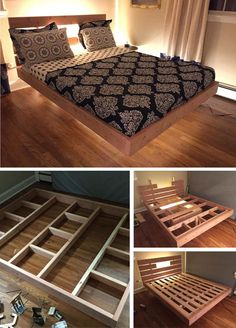 The absolute best DIY bed frames the internet has to offer! Save money and build your own bed frame. Bed Frame Plans, Bed Frame And Headboard, Diy Bed Frame, Build Bed Frame, Making A Bed Frame, Bed Frame Design, Bedroom Bed Design, Room Ideas Bedroom, Bedroom Decor