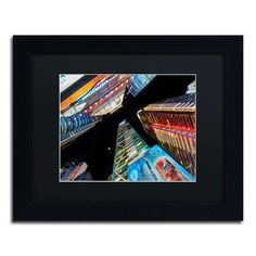 """Trademark Art 'Times Square NYC' by David Ayash Framed Photographic Print Size: 11"""" H x 14"""" W, Matte Color: Black"""