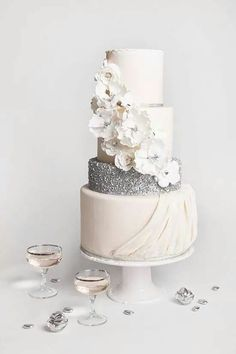 White silver cake for wedding