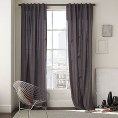 Cotton Canvas Window Panel – Steel #WestElm