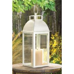 POSSIBLE CENTERPIECES - DISTRESSED IVORY CANDLE LANTERN