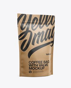 Paper Coffee Bag W/ Valve Mockup - Half Side View